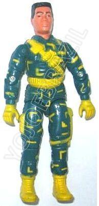 Descrição:  O Tiro Certo (Tiro Certo) foi lançado no Brasil em 1995 (Série 12) pela companhia de Brinquedos Estrela, a figura corresponde ao modelo swivel arm (com movimento nos cotovelos). Trata-se da versão nacional do Urban Commander [Bullet-Proof] fabricado em 1993 pela Hasbro pela série G.I. JOE.