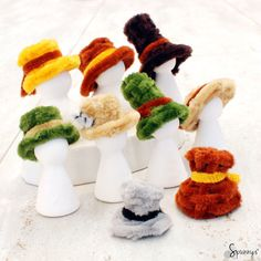 Pipe cleaner hats (minis) - how to make your own