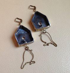Birdhouse earrings welded from recycled steel