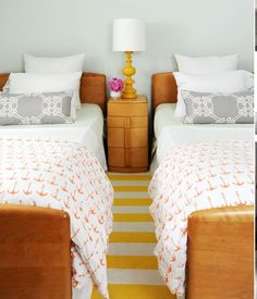 We have these twins bed, but the night stand that is pictures is from a different line.   Heywood Wakefield beds and nightstand