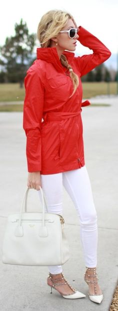 Charles River Red Rain Jacket by Bird a la mode