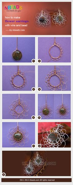 how to make flower earrings with wire and bead