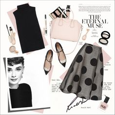Style Icon - Audrey Hepburn by amaryllis on Polyvore featuring moda, The Row, Rochas, Miu Miu, Givenchy, Monica Vinader, Kevyn Aucoin, Shiseido, By Terry and BBrowBar