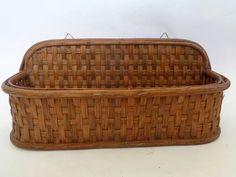 Vintage Wicker Basket Letter Holder Wicker Wall Pocket