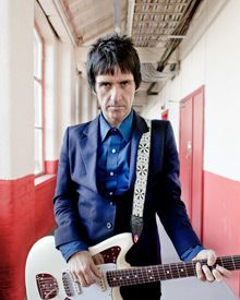 Johnny Marr with his signature model Fender Jaguar.