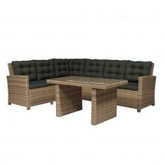 Loungeset »Santorini Premium«, 20 Tlg. Eckbank, Sessel, 2 Hocker, Tisch,  Polyrattan | Garden | Pinterest