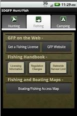 The South Dakota Game, Fish and Parks Hunt/Fish application lets users view the hunting and fishing regulations, apply for licenses to hunt and fish in South Dakota, reserve a campsite in one of the state parks, and view maps of public hunting and fishing opportunities.