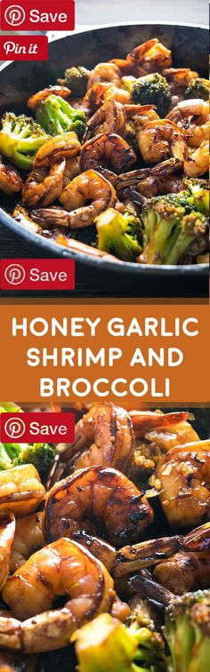 Honey Garlic Shrimp and Broccoli! Browned honey garlic shrimp with tender broccoli - a super easy dinner that packs a wallop of flavor with simple common ingredients. | Honey Garlic Shrimp and Broccoli! Browned honey garlic shrimp with tender broccoli - a super easy dinner that packs a wallop of flavor with simple common ingredients