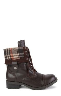 Deb Shops Combat Boot with Plaid Foldover Cuff