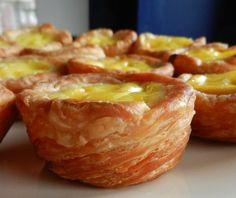 Pasteis de nata (Portuguese custard tarts) recipe - All recipes UK Puff Pastry Dough, Frozen Puff Pastry, Puff Pastry Recipes, Tart Recipes, Sweet Recipes, Dessert Recipes, Gourmet Desserts, Plated Desserts, Yummy Recipes