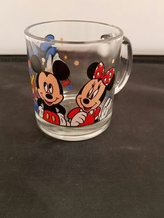 """Mickey Mouse Minnie Mouse and Donald Duck Drinking Glass 6/"""""""