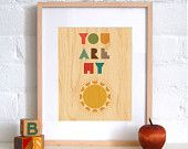 FRAMED 8x10 You Are My Sunshine Print on Wood by petitcollage
