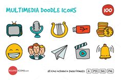 Check out Multimedia Doodle Icons Set by roundicons.com on Creative Market