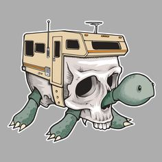 superfishal - Turtle Camper T-Shirt by Jeremy Fish