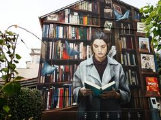 Curiosity feeds imagination - street art in  SouthLuxembourg by French graffiti artist Mantra.