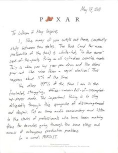"Pixar animator Austin Madison wrote an inspirational open letter urging animators and creative professionals everywhere to ""persist""."