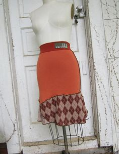 Pumpkin Orange and Brown Argyle/ upcycled clothing / by 75Rabbit, $50.00