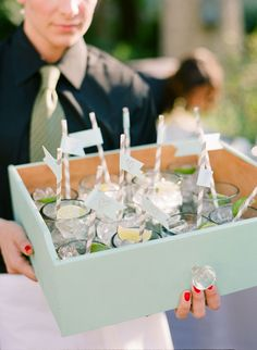 Genius idea for serving drinks! I think we should do this during cocktail hour. Thoughts @Kate Hueftle