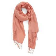 Women's Nordstrom Tissue Weight Wool & Cashmere Scarf (665 CNY) ❤ liked on Polyvore featuring accessories, scarves, pink desert, long scarves, fringe scarves, nordstrom scarves, woolen shawl and oblong scarves