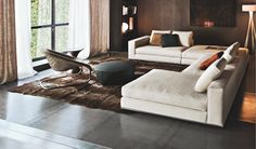 Living Room, : Breathtaking Ideas For Living Room Decoration Using White Leather Modular Sofa Along With Round Black Leather Minotti Huber Coffee Table And Glass Wall In Living Room Sofa Design, Canapé Design, Interior Design, Minotti Furniture, Luxury Furniture, Home Furniture, Leather Modular Sofa, Hamilton Sofa, Lounge Suites
