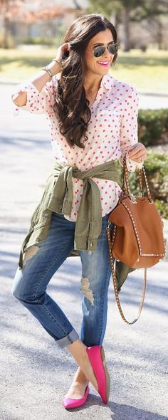 Polka and Ripped | Going Spring Casual Outfit by The Sweetest Thing
