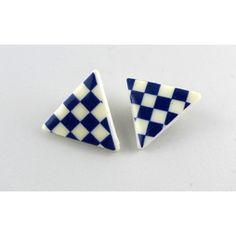 Örhänge Clips blå/vit