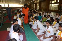 youths taking blessings of #yoga guru swami Ramdev at #yuva shivir , #Patanjali Yogpeeth, #Haridwar