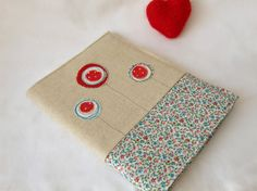 A5 embroidered 'lollipop flower'  fabric notebook cover - with A5 notebook