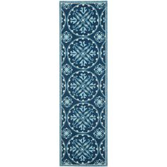 Safavieh Four Seasons Stain Resistant Hand-hooked Blue Rug (2'3 x 8') #Safavieh