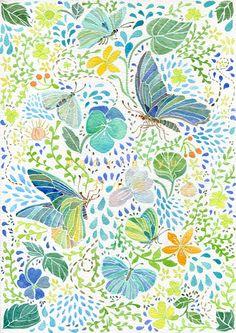 送上桌布一张~ by 冇小雨 - flowers and butterflies - fleurs et papillons - flores y marpiosas