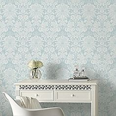Superfresco Easy Grey Venetian Damask Paste The Wall Wallpaper