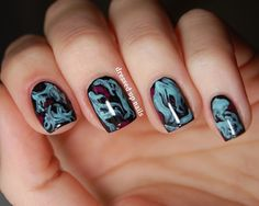 """One coat black polish; dry. When second coat is still wet, add turquoise and """"marble"""" with striping brush.  Add burgundy last, marbling as well."""
