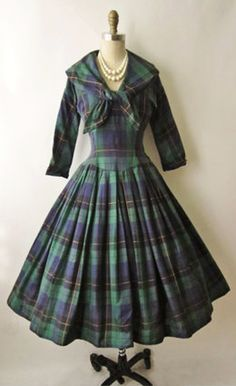 1950's era dress in Black Watch Tartan...