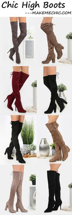 Faux Suede Lace Up Knee High Boots