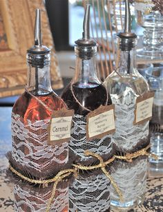 pretty for something. coffee bar syrups wrapped in lace to give them an extra special touch Maybe coffee and hot chocolate with Oregon-themed hazelnut and blackberry syrups? Chocolate Spoons, Hot Chocolate Bars, Vintage Party, Vintage Ideas, Brunch, Tea Party, Fancy Party, Peppermint, Rustic