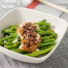 Green Beans with Spicy Peanut Sauce | Use peanut butter to create a savory Chinese dish