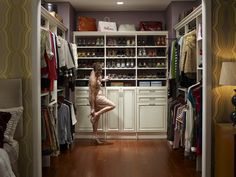 Antique white walk-in closet.
