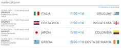 Partidos del Mundial 2014 para el día Martes 24 de Junio.  http://www.1502983.talkfusion.com/products/