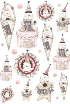 Tilda Scrapbook Paper, Scrapbooking, Image 3d, Shabby Chic Christmas, Primitive Christmas, Pocket Letters, Sticker Paper, Stickers, Printable Paper