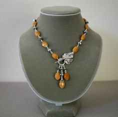 Yellow Butterscotch Faceted Jade and Silver Rhondelle by Karenda