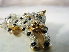 1980s Pave Rhinestone Brooch, Leopard Brooch, Petite Big Cat Brooch, Cougar Brooch, Puma Brooch, Rhinestone Brooch,Cat Brooch,Cheetah Brooch by CarolsVintageJewelry on Etsy