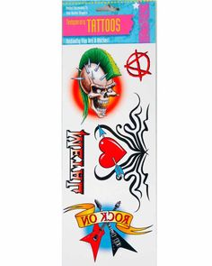 Assorted Fake Tattoos (pack of to get that punk or rock god look. 80s Rocker Costume, Punk Costume, Costumes, Apple Costume, Acid Rock, 80s Punk, Easy Halloween Decorations, Guitar Tattoo, Fake Tattoos