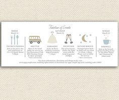Printable Wedding Weekend Timeline T Wedding Itineraries