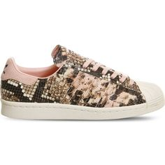 Adidas Superstar 80s snake-effect leather trainers ($99) ❤ liked on Polyvore featuring shoes, sneakers, leather shoes, snake sneakers, 1980s sneakers, adidas trainers and pink sneakers