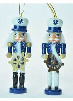 "Nautical Nutcracker 5"", Asst. 2 Nutcracker Ornaments, Nut Cracker, Nautical, Christmas, Navy Marine, Xmas, Navidad, Noel, Natal"