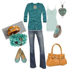 Teal w/ pops of yellow, created by amyjoyful1.polyvore.com