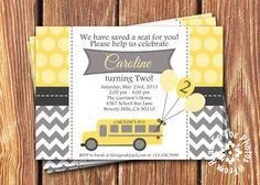School Bus Birthday Invitations by FromHeadtoToeDesigns
