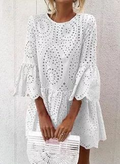 Solid Hollow Out Round Neckline Above Knee A-line Dress - White / M Source by floryday dress classy Floryday Dresses, Plus Size Dresses, Dresses Online, Casual Dresses, Event Dresses, Occasion Dresses, Tienda Fashion, Outfit Elegantes, Floryday Vestidos
