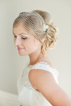 Bridal hairpiece birdcage veil bridal veil  by WhiteRibbonAccents, $110.00