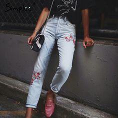 $24.99 (Buy here: https://alitems.com/g/1e8d114494ebda23ff8b16525dc3e8/?i=5&ulp=https%3A%2F%2Fwww.aliexpress.com%2Fitem%2FSimplee-Denim-embroidery-jeans-woman-bottoms-2017-summer-high-waist-jeans-female-Casual-light-blue-boyfriend%2F32795527501.html ) Simplee Denim embroidery jeans woman bottoms 2017 summer high waist jeans female Casual light blue boyfriend jeans pants capris for just $24.99